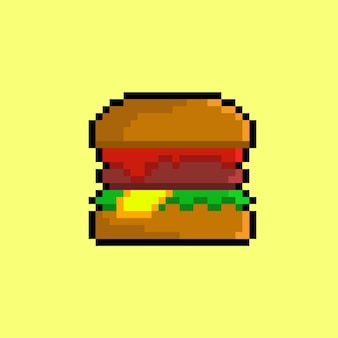 Burger with pixel art style