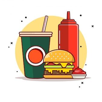 Бургер с содой и соусом значок иллюстрации.