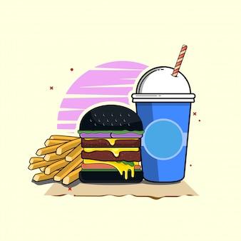 소 다 클립 아트 일러스트와 함께 햄버거입니다. 패스트 푸드 클립 아트 개념입니다. 플랫 만화 스타일 벡터