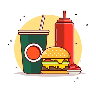 Burger with soda and sauce icon illustration.