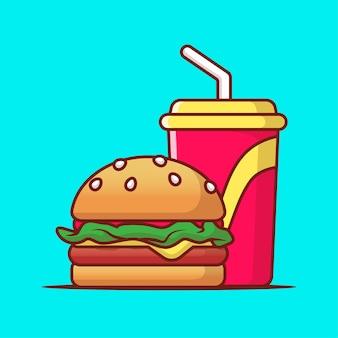 Бургер с безалкогольным напитком значок иллюстрации