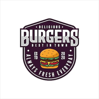 Burgers badge design logo