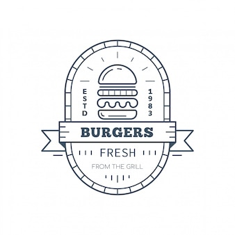 Burgers badge design, vector line art illustration