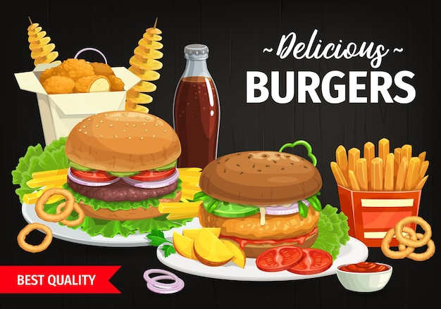 Burgers and combo snacks fast food hamburgers with lettuce and vegetables