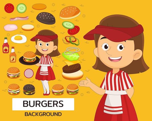ハンバーガーのコンセプトの背景。フラットアイコン。
