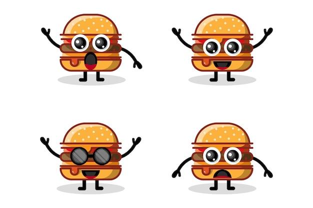 햄버거 로고 디자인 문자 귀여운