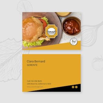 Шаблон визитной карточки ресторана burgers