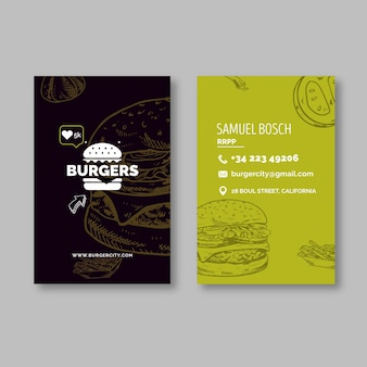 Burgers restaurant double sided business card