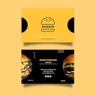 Burgers restaurant double-sided horizontal business card template