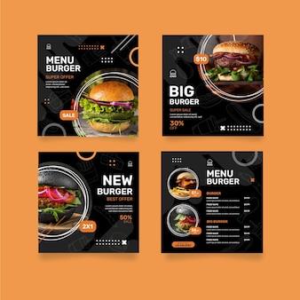 Post di instagram del ristorante di hamburger