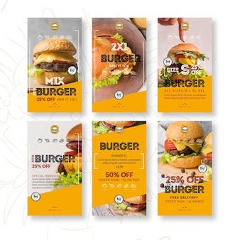 Storie di instagram del ristorante di hamburger