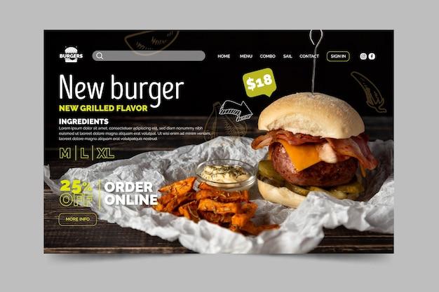 Pagina di destinazione del ristorante di hamburger