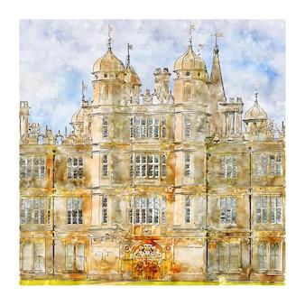 Берли хаус англия акварельный эскиз рисованной иллюстрации
