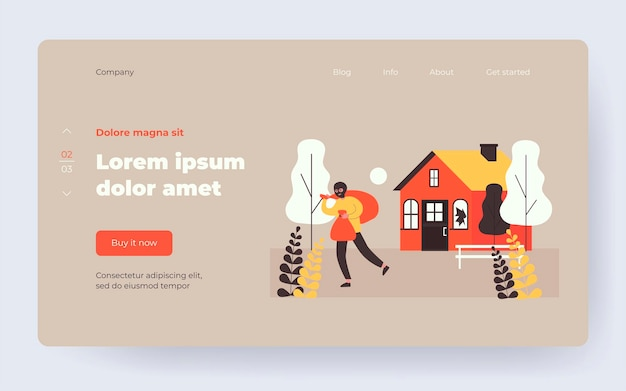 Burglar in balaclava carrying bags from house. thief, gangster, broken window flat vector illustration. crime or burglary concept for banner, website design or landing web page