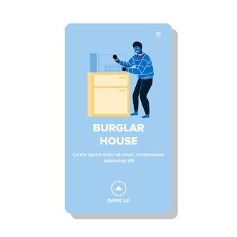 Burglar in house breaking safe equipment vector. burglar man threatening break and opening money saving tool. character burglary thief guy criminal occupation web flat cartoon illustration