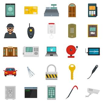 Burglar robber plunderer icons set