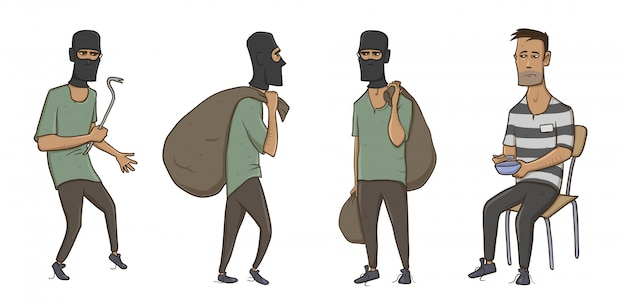A burglar, robber, thief, man in balaclava mask with huge sack and crowbar. a criminal in prison in striped clothes.  illustration,  on white background.