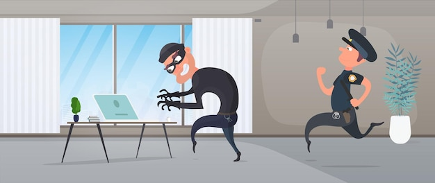 A burglar steals a laptop in the house. a police officer detains a robber. security concept, protection of personal data. vector.