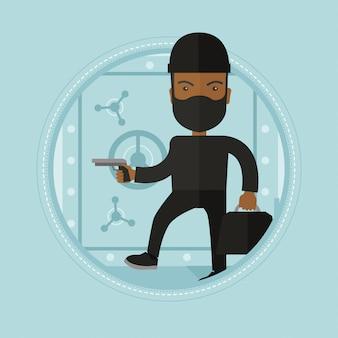 Burglar with gun near safe