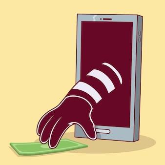 Burglar with hand out of the phone robbing money  . online dangers, predators design concept