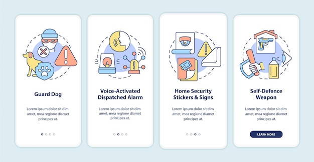 Burglary prevention onboarding mobile app page screen. security system walkthrough 4 steps graphic instructions with concepts. ui, ux, gui vector template with linear color illustrations
