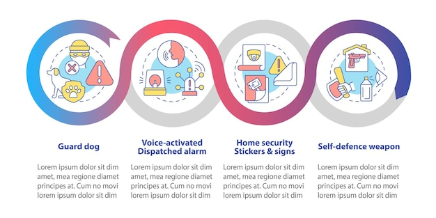 Burglary prevention vector infographic template. property security presentation outline design elements. data visualization with 4 steps. process timeline info chart. workflow layout with line icons