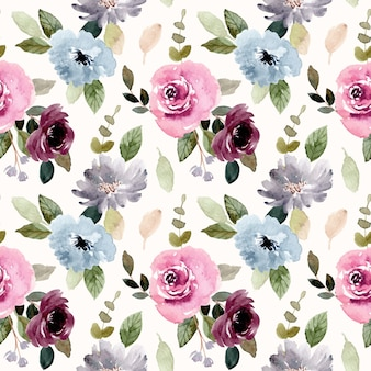 Burgundy blue flower watercolor seamless pattern