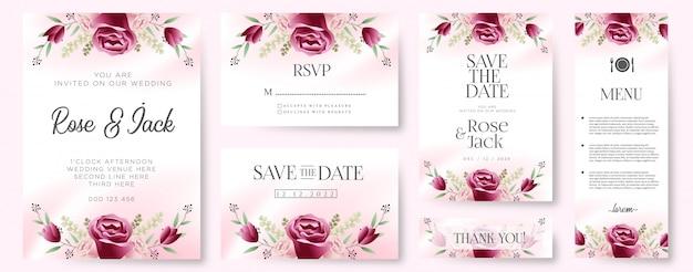 Burgundy blush floral botanical wedding invitation card