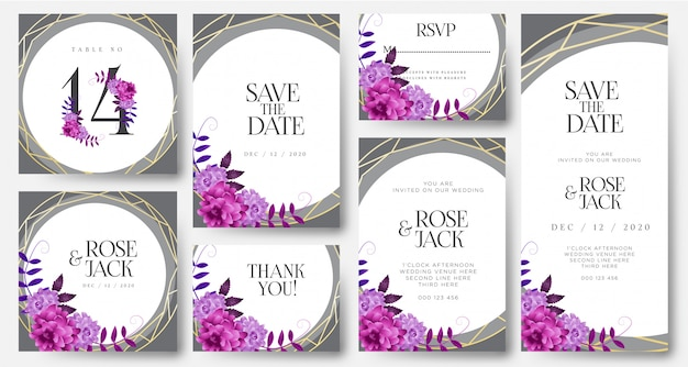 Burgundy blush watercolor floral wedding invitation card templates
