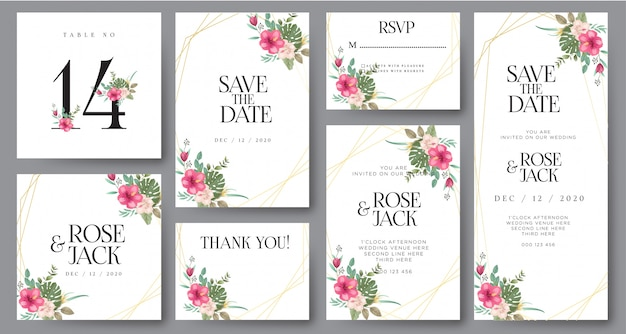 Burgundy blush watercolor floral wedding invitation card
