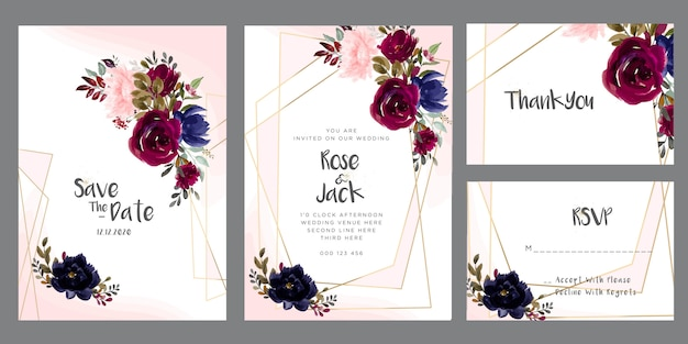 Burgundy and blush watercolor floral wedding invitation card