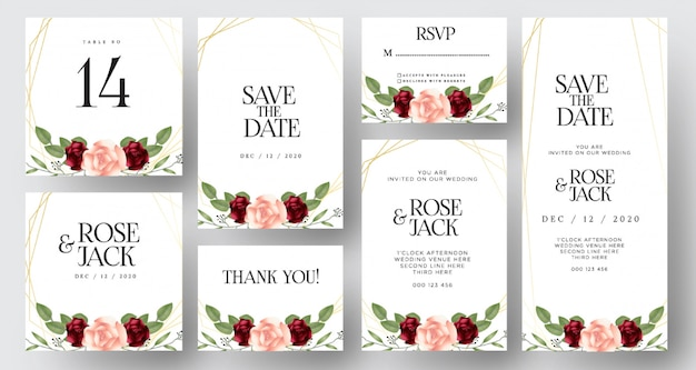 Burgundy blush watercolor floral wedding invitation cards