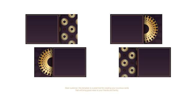 Бордовая визитка с винтажным золотым орнаментом для вашего бренда.