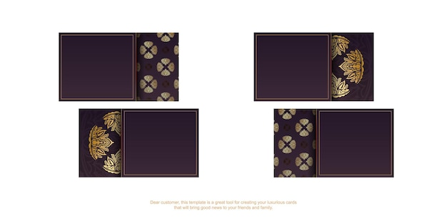 Бордовые визитки с винтажным золотым узором для ваших контактов.