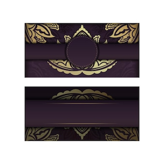 Burgundy card with luxurious gold ornaments for your brand.