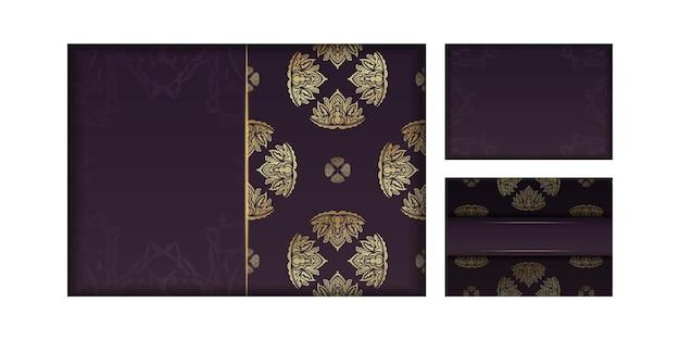 귀하의 브랜드를 위한 만다라 골드 장식이 있는 부르고뉴 카드.