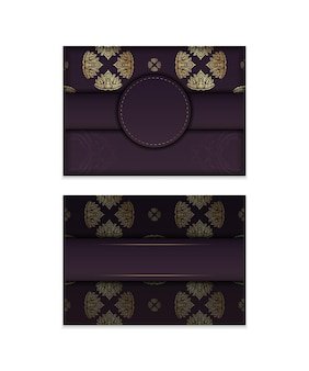 Burgundy card with mandala gold ornament for your design.