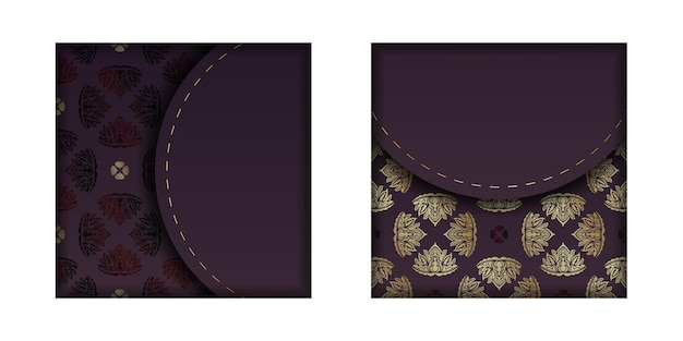 Burgundy card with mandala gold pattern for your brand.