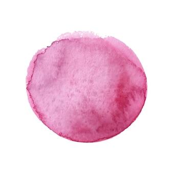 Бордовый круг расписан акварелью, изолированные на белом фоне акварельный фон бордовый