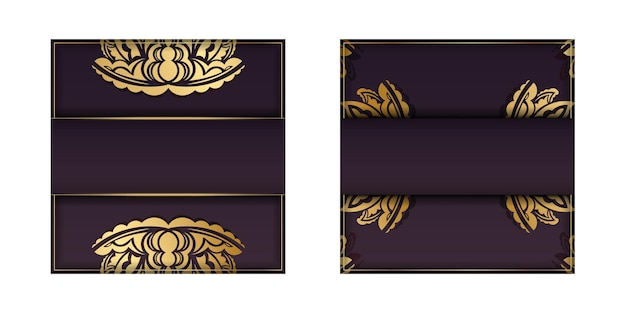Burgundy color card with abstract gold pattern for your design.