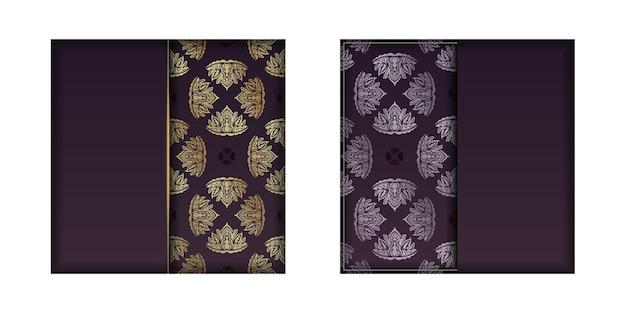 디자인을 위한 만다라 골드 패턴이 있는 부르고뉴 컬러 카드.
