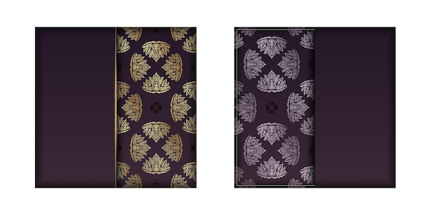 Burgundy color card with mandala gold pattern for your design.