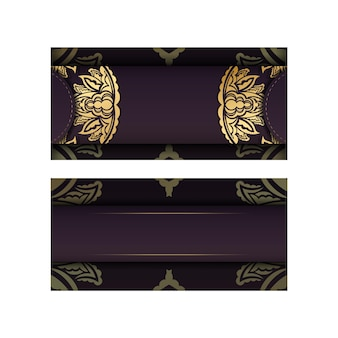 Burgundy color postcard with vintage gold ornament for your design.