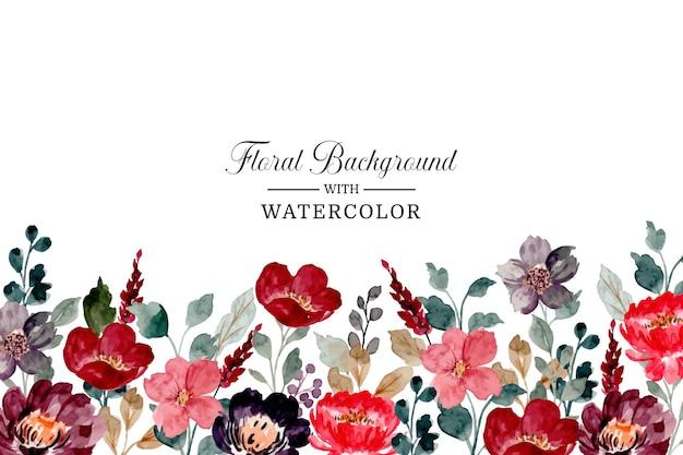 Бордовый цветочный фон с акварелью