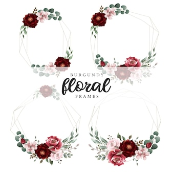 Burgundy floral botanical geometrical frames