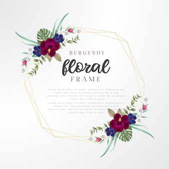 Burgundy floral frame template