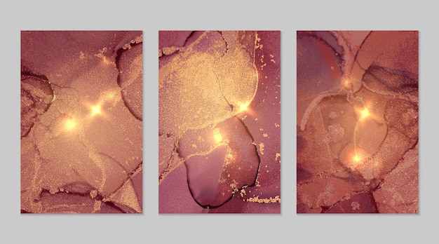 Burgundy and gold marble abstract textures