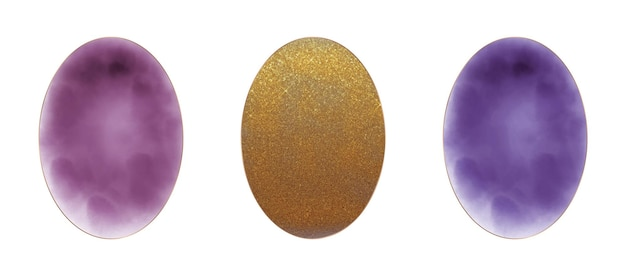 Burgundy, golden glitter and purple oval watercolor frames
