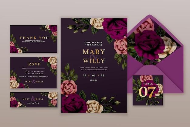 Burgundy and golden wedding stationery