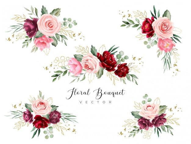 Бургундский зеленый акварельный цветочный букет